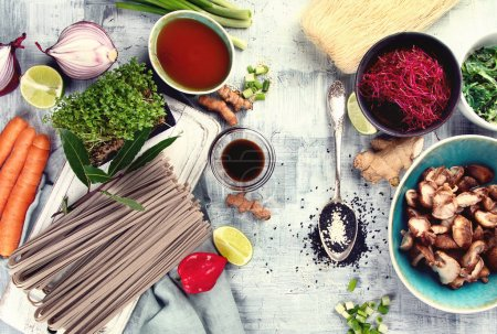 Photo for Asian food background. Asian vegetarian cooking ingredients. Top view - Royalty Free Image