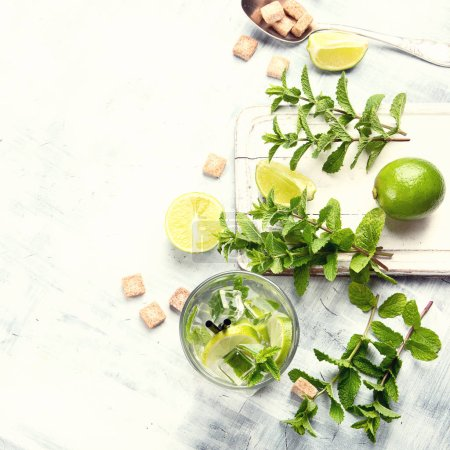 Photo for Mojito cocktail drink with lime and mint - Royalty Free Image