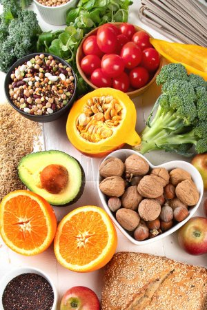 Photo for High Fiber Foods. Healthy balanced dieting concept. Top view - Royalty Free Image