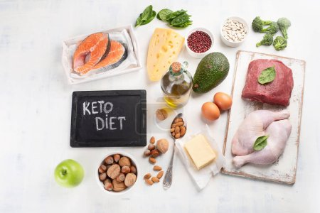 Top view of ketogenic low carbs and healthy diet food on white background