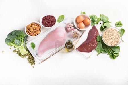 top view of arrangement of foods High in Selenium, healthy diet concept