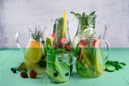 Glasses of various detox water for healthy weight loss.