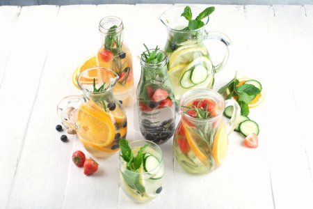 Photo for Glasses of various detox water for healthy weight loss. - Royalty Free Image