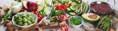 Photo for Vegetables, fruit, cereals, beans,  superfoods for vegan, vegetarian, clean eating diet.  Diet food concept. Healthy food background. Panorama, banner - Royalty Free Image