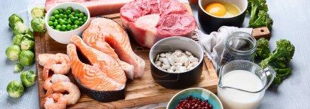 Foto de Alimentos de alto valor proteico. Concepto de dieta y comer sano. Panorama, banner - Imagen libre de derechos