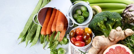 Photo for Organic food background. Healthy cooking ingredients - fresh fruits and vegetables. Image with copy space. Panorama, banner - Royalty Free Image