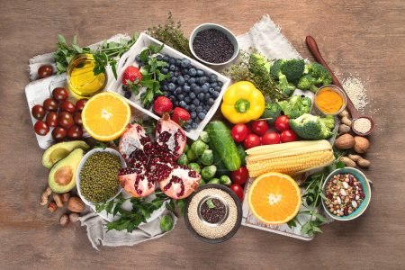 Photo for Healthy diet background. Clean and detox eating. Vegan or gluten free diet. Raw organic fruits, vegetables, grain and superfood  for  cooking - Royalty Free Image