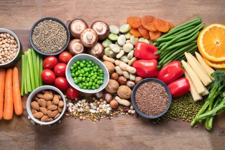 Photo for Health food for vegan cooking. Foods high in antioxidants, carbohydrates and vitamins. Clean and detox eating, alkaline diet, vegetarian concept - Royalty Free Image