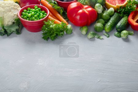 Photo for Fresh vegetables. Vegan and vegetarian concept. Foods high in vitamins, minerals and antioxidants. Healthy diet eating for immune boosting. Image with copy space - Royalty Free Image