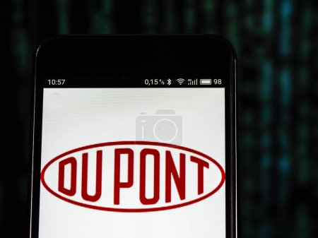 KIEV, UKRAINE Sept 13, 2018: DuPont Conglomerate company logo seen displayed on smart phone. E. I. du Pont de Nemours and Company is an American conglomerate that was founded in July 1802