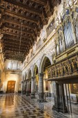 ENNA, ITALY - MAY 9, 2018: Interior of the Enna Cathedral (Duomo di Enna), Sicily, Italy. Is the mother church of the city. As well as a national monument and a UNESCO Site of Peace