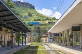 ENNA, ITALY - MAY 9, 2018: Enna railway station (Stazione di Enna), small railway station situated in 5km away well below the Enna old town, Sicily. Several trains a day run to Palermo and Catania