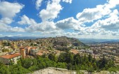 Aerial view of Enna old town, Sicily, Italy. Enna is a city and comune located at the center of Sicily. At 931 m above sea level, Enna is the highest Italian provincial capital