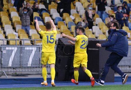 Photo for KYIV, UKRAINE - OCTOBER 13, 2020: Ukrainian players celebrate after scored a goal during the UEFA Nations League game against Spain at NSK Olimpiyskiy stadium in Kyiv. Ukraine won 1-0 - Royalty Free Image