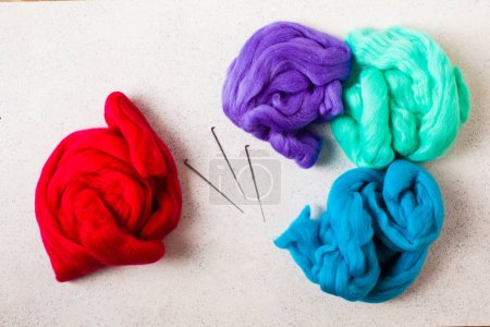 Close up of wool set and needle felting kit