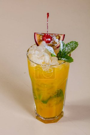 Mojito with passion fruit and mint