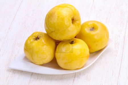 Pickled yellow apple in the bowl