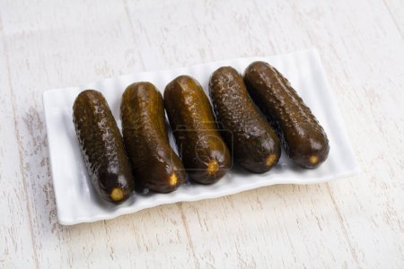 Tasty plate of salty pickled cucumbers