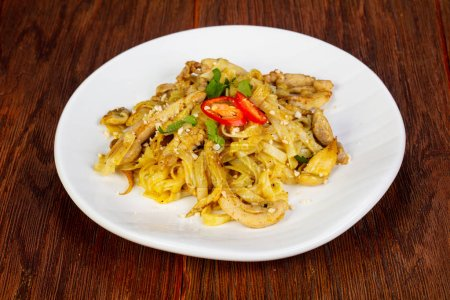 Photo for Wok noodle Udon with chicken - Royalty Free Image
