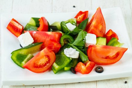 Photo for Greek traditional salad with feta cheese - Royalty Free Image
