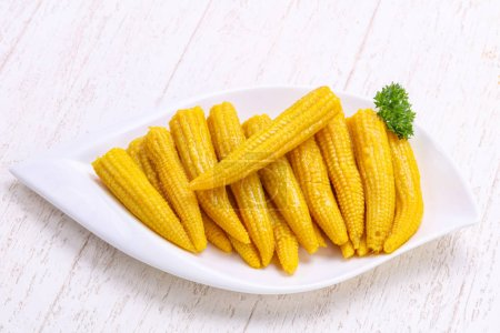Pickled baby corn in the bowl