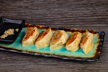 Delicious gedza dumplings with shrimp