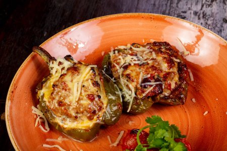 Stuffed pepper with meat and cheese