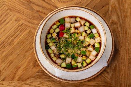 Russian Okroshka soup with kvas