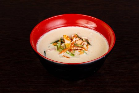 Cream asian soup with fish