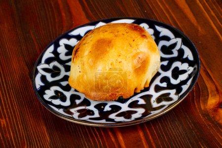 Uzbek traditional samosa in the plate