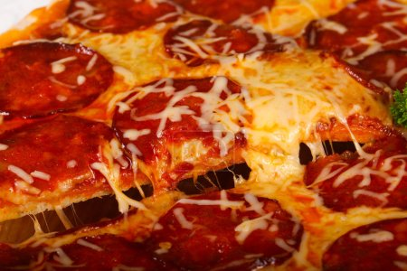 Photo for Tasty Pizza pepperoni in white plate - Royalty Free Image