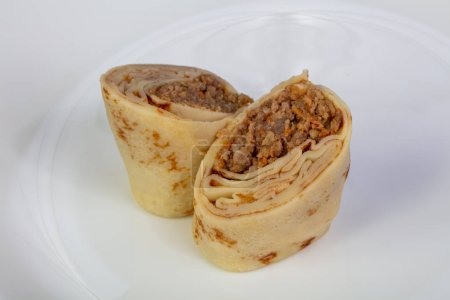 Stuffed pancake with chicken meat