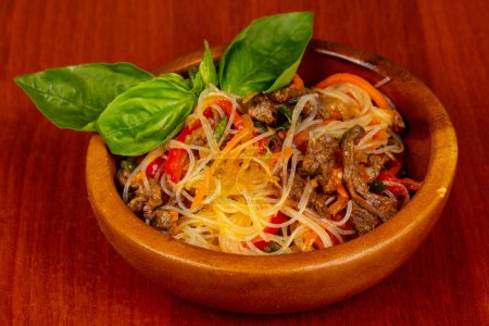 Photo for Noodle with beef served basil - Royalty Free Image