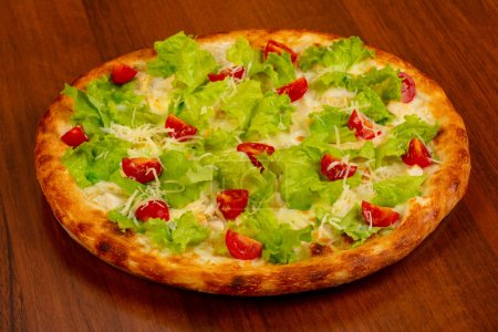 Photo for Pizza Caesar with chicken and salad - Royalty Free Image