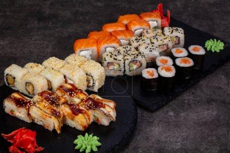 Japanese sushi set with various ingredient