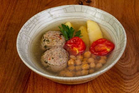 Photo for Kofta soup with meat and vegetables - Royalty Free Image