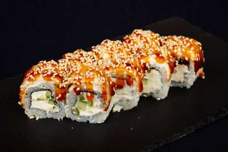 Photo for Japanese cold roll with eel - Royalty Free Image
