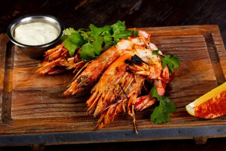 Grilled prawn with cilantro ans sauce