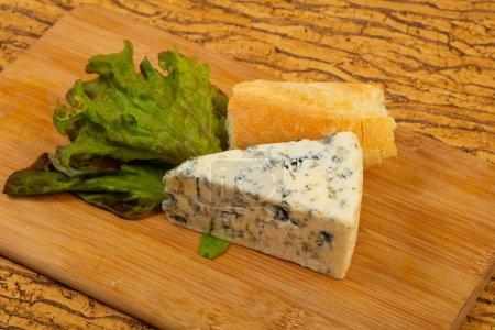 Photo pour Fromage bleu avec salade feuilles par-dessus bord - image libre de droit