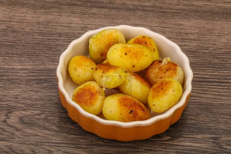 Roasted young baby potato in the bowl