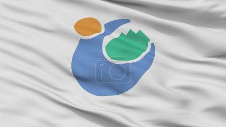 Photo pour Ville de Tomioka drapeau, pays au Japon, la préfecture de Gunma, vue, rendu 3d - image libre de droit