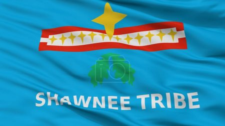 Shawnee Tribe Of Oklahoma Indian Flag, Closeup View, 3D Rendering