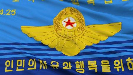 Photo pour Corée du Nord les peuples Army Air Force drapeau, vue, rendu 3d - image libre de droit