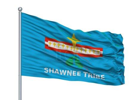 Shawnee Tribe Of Oklahoma Indian Flag On Flagpole, Isolated On White Background, 3D Rendering