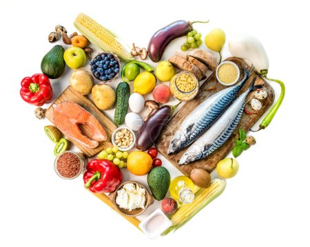 Photo for Healthy organic nutritious diet. Plenty of foods on the wooden white table in the form of the heart - Royalty Free Image