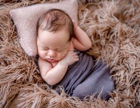 Photo for Cute sleeping newborn baby boy - Royalty Free Image