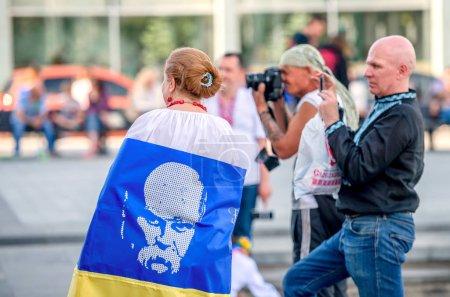 Kharkiv, Ukraine - 17 May 2018 : embroidered shirt holiday in Kharkiv