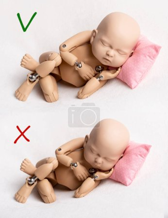 Photo for Right and wrong ways to take photo of a doll of newborn, template - Royalty Free Image