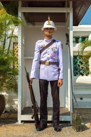 BANGKOK, THAILAND - MARCH 22, 2018: Kings Guard in Grand Royal Palace in Bangkok in a summer day