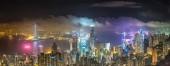 """Постер, картина, фотообои """"Панорама делового района Гонконга в летнюю ночь"""""""